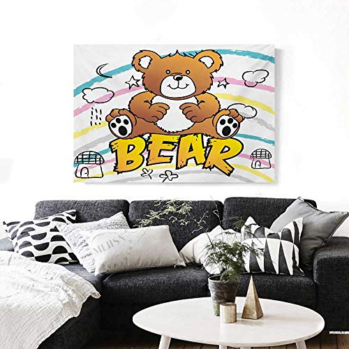 Wall Art Canvas Prints Cute Brown Bear Kids Toy Typography on Colorful Stripes Houses Clouds Moons Stars Ready to Hang for Home Decorations Wall Decor 36