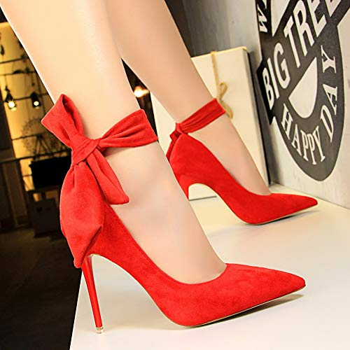 Yukun Black Shoes Up Strap High Nightclub Lace Pointed Heels High Red Female 10Cm heels Stiletto Bow zwqzIr