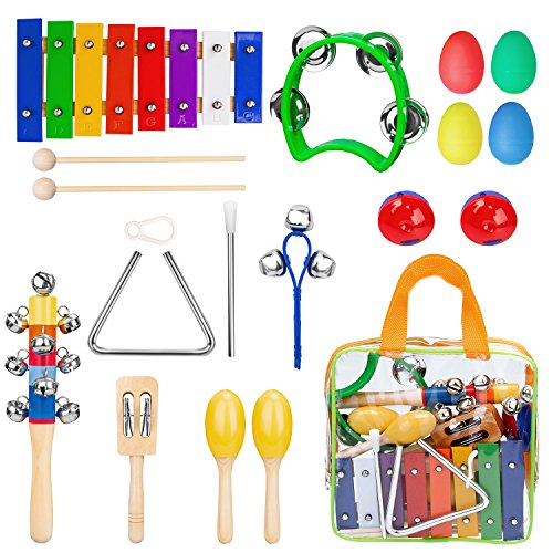 Gogodirect Kids Musical Instruments Xylophone Set 17pcs, Wooden Percussion Instruments Toy for Toddlers Preschool Educational, Musical Toys Set for Kids Children with Carrying (Best Musical Instruments For Kids)