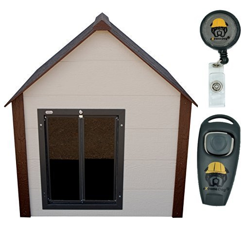 Extreme Consumer Products Climate Master Plus Insulated Dog House w/Hound Heater Deluxe Upgrade and PlexiDor Premium All Weather Door - Large with Free Training Clicker-Whistle