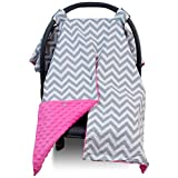 Compra Premium Carseat Canopy Cover / Nursing Cover- Large Chevron Pattern w/ Hot Pink Minky | Best Infant Car Seat Canopy for Girls | Cool/ Warm Weather Car Seat Cover | Baby Shower Gift 4 Breastfeeding Mom en Usame