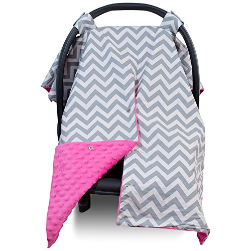 Premium Carseat Canopy Cover / Nursing Cover- Large Chevron Pattern w/ Hot Pink Minky | Best Infant Car Seat Canopy for Girls | Cool/ Warm Weather Car Seat Cover | Baby Shower Gift 4 Breastfeeding Mom (Girl Baby Car Seat Covers compare prices)