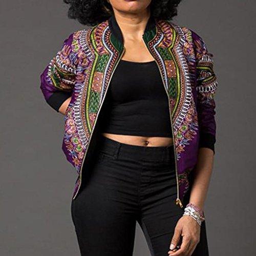 Dcontracte Bringbring Femme Veste Jacket Violet Imprimer Longues Manches Mode Africaine Short zqq4dYB