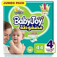 BabyJoy Compressed Diamond pad Diaper, Jumbo Pack L+ Size 4+, Count 44, 12 - 21 KG
