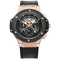 Megir Mens 24-hour Chronograph Luminous Military Sport Leather Quartz Wrist Watches Rose Gold