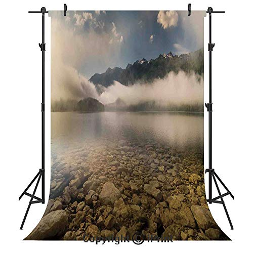 (Farm House Decor Photography Backdrops,Alpine Lake with Stones Rocks in Crystal Water with Mist Fog Clouds Image,Birthday Party Seamless Photo Studio Booth Background Banner 3x5ft,Grey White)