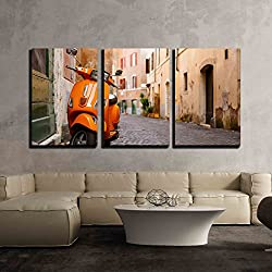 "wall26 - 3 Piece Canvas Wall Art - Old City Street with Motorbike in Rome, Italy. on Sunny Autumn or Spring Day. - Modern Home Decor Stretched and Framed Ready to Hang - 24""x36""x3 Panels"