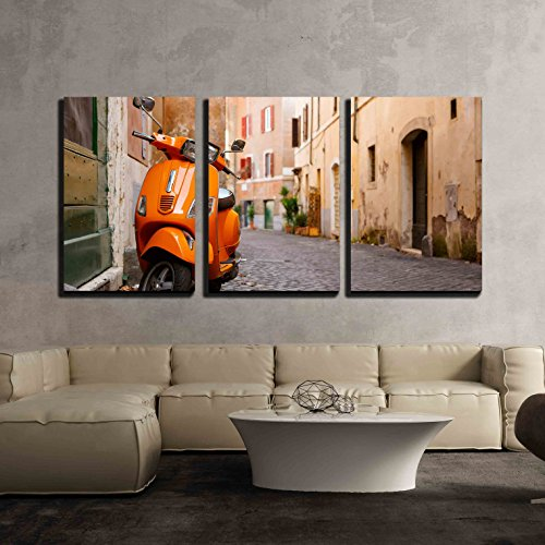 Old City Street with Motorbike in Rome Italy on Sunny Autumn or Spring Day x3 Panels
