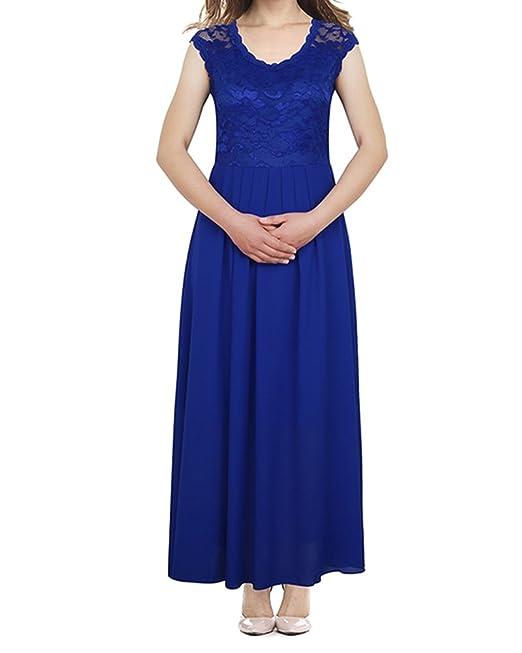 Mujer Vestidos Fiesta Largos Sin Manga Encaje Para Cóctel Elegantes Azul S