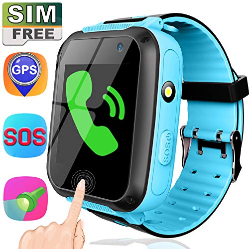 Smart Watch with SIM Card-1.44' GPS Tracker Smart Watch Phone for Kids Boys Girls with Touch Screen Camera SOS Anti-Lost Game Alarm Clock Wrist Digital Watch Birthday Gifts (Blue)