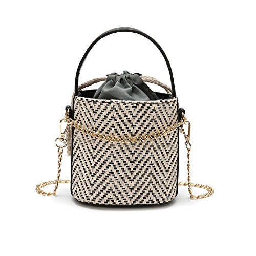 Black Woman Bag Black Straw Chain Color Shoulder Woven Shoulder Beach Zhrui with Strap qRwIC7UC