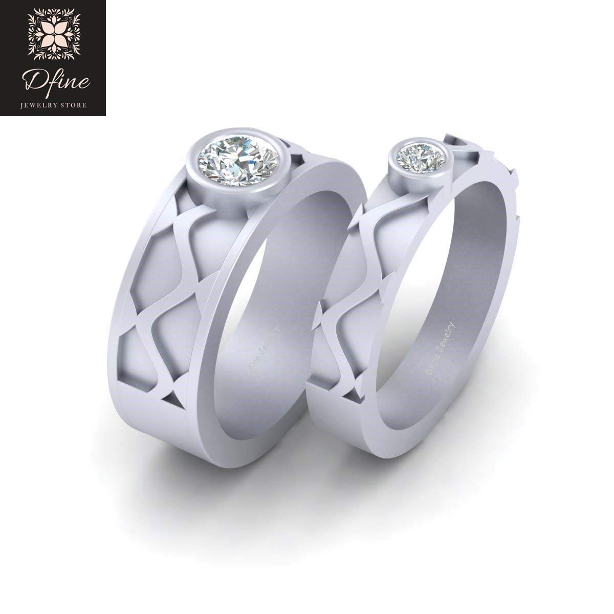 Amazon Solid 10k White Gold Matching Bride And Groom Wedding Band Set Solitaire Diamond Wavy Bands For Couple Handmade: Diamond Groom Wedding Bands At Reisefeber.org