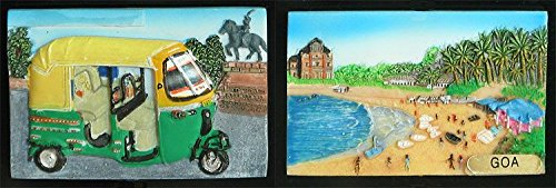 DollsofIndia Three Wheelar and Goa Beach - Set of 2 Resin Magnets - 2 x 3 inches Each (DK68) Home & Décor at amazon