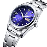 Fanmis Luminous Quartz Lady Dress Waterproof Calendar Stainless Steel Wrist Watch Silver Blue