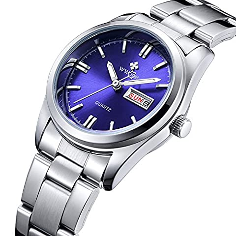 Fanmis Luminous Quartz Lady Dress Waterproof Calendar Stainless Steel Wrist Watch Silver Blue (Water Proof Watches Ladies)