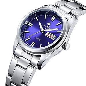 FANMIS Luminous Quartz Lady Dress Waterproof Calendar Stainless Steel Wrist Watch Silver Blue