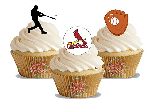 12 x Baseball St. Louis Cardinals Mix - Fun Novelty Birthday PREMIUM STAND UP Edible Wafer Card Cake Toppers -