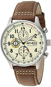 AVI-8 Men's AV-4011-04 Hawker Hurricane Stainless Steel Watch with Leather Band