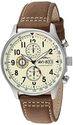 AVI-8-Mens-AV-4011-04-Hawker-Hurricane-Stainless-Steel-Watch-with-Leather-Band
