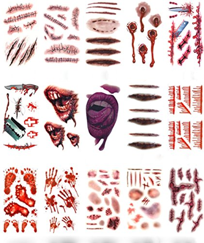 Halloween Scar Tattoos Stickers Temporary - Waterproof Horror Realistic Fake Bloody Terror Wound Injury Stitch Scar Scab Halloween Tattoo Cosplay Costume, Halloween Masquerade Prank Makeup Props]()