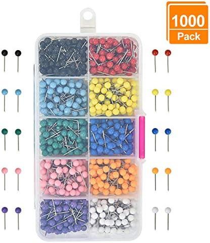 Willingood 1000 Stück Karte Nagel Pinnadeln Plastik Kopf mit Stahl Punkt [10 Farben, 1/8 Zoll] Gelten für Markieren von Orten, Sehenswürdigkeiten, Reise-Routen, Adressen