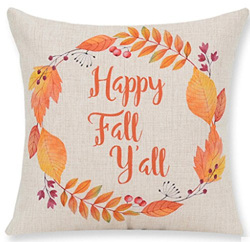 Andreannie Pumpkin Maple Leaf Wreath Happy Fall Vintage Letters Happy Thanksgiving Halloween New Home Room Sofa Car Decorative Cotton Linen Throw Pillow Case Cushion Cover Square 18 X 18 Inches ()
