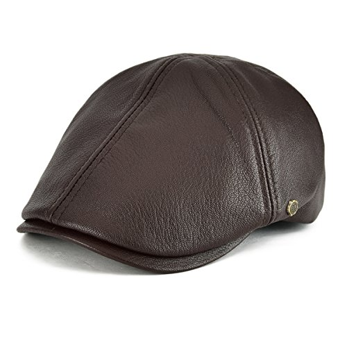 VOBOOM Lambskin Leather Ivy Caps Classic Ivy Hat Cap 6 Pannel Cabbie Beret hat (S/M(58cm), Light Brown)