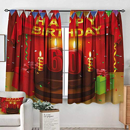 HOMEDECORATIONS 58th Birthday Window Curtain Drape Festive Party Theme Show Inspired Curtains and Cakes Box Art Colorful Print Door Curtain Blackout 55