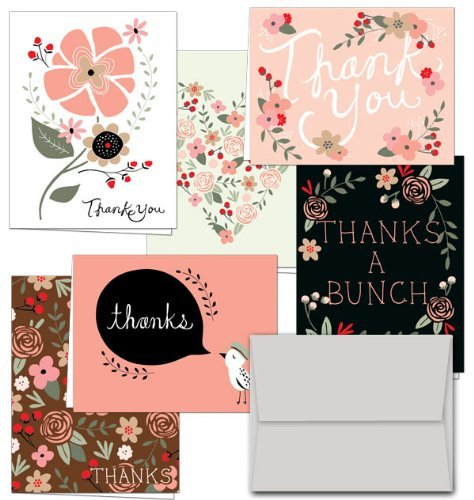 (Thank You Potpourri - 36 Thank You Cards for $12.99 - 6 Designs - Blank Cards - Gray Envelopes Included by Note Card Cafe)
