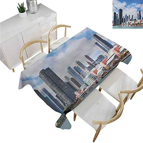 familytaste Chicago Skyline,Party Table Cloth,Cloudy Sky on City Contemporary Downtown States Country Office Panorama,Table Flag Home Decoration 70