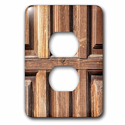 3dRose Alexis Photography - Texture Wood - Detail of a vintage grunge wooden door - Light Switch Covers - 2 plug outlet cover (lsp_271991_6) by 3dRose