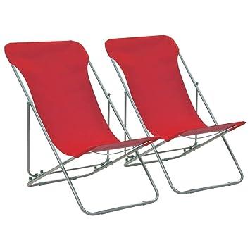 vidaXL 2X Sillas de Playa Plegables Hierro Tela Oxford Rojo ...