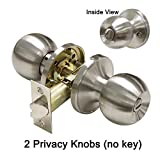 Gobrico Round Ball Door Knob Privacy Keyless for Bedroom and Bath, Satin Nickel (2Pack)