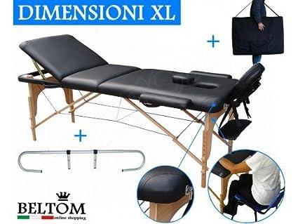 Lettino Massaggio Beltom.Lettino Massaggio 3 Zone In Legno Dimensione Xl 195 X 70 Cm Portarotolo Per Lettini Da Massaggi Portatile Pieghevole Borsa Portalettino Pannello