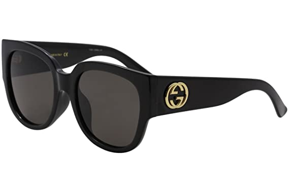 fbb438d5721 Amazon.com  Gucci GG 0142 SA- 001 BLACK GREY Sunglasses  Clothing