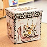 Non-Woven Multi Functional Folding Storage Stool Multi Creative Retro Collapsible Cube High Heels Fashion Women's Pattern For Sale