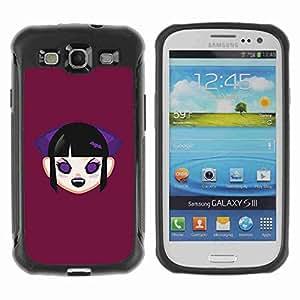 A-type Arte & diseño Anti-Slip Shockproof TPU Fundas Cover Cubre Case para Samsung Galaxy S3 III / i9300 / i717 ( Funny Cute Vampire Girl )