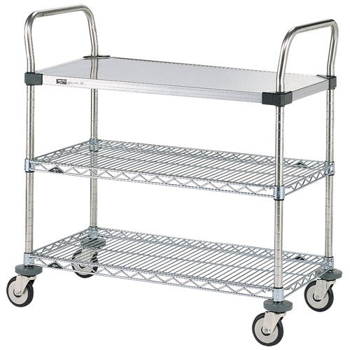 Metro MW Series Stainless Steel/Chrome Plated Wire Utility Cart, 3 Shelves, 375 lbs Capacity, 24