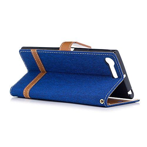 Sony Xperia XZ Premium Funda,Grandcaser Sastre Denim Flip Cover Cartera Carcasa con función de soporte y Portátil Correa Ranura de Tarjeta Cierre Magnético para Sony Xperia XZ Premium-Gris Azul