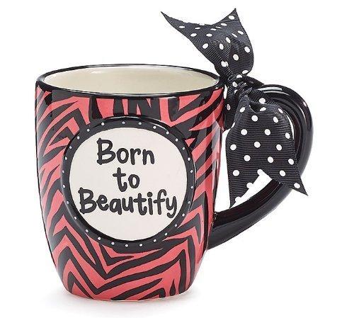 Born to Beautify Zebra Stripe Ceramic Coffee Mug Cup Tea 14oz Animal Print Gift