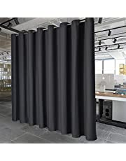PANOVOUS Privacy Room Divider Drape - Wide Width Grommet Top Room Divider Curtain Panel 120W x 108L Inch Black