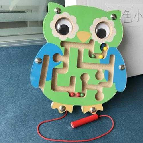 Children Puzzle Toy Wooden Magnetic Small Size Owl Pattern Animal Maze