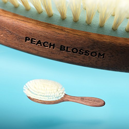Delicately Soft Natural Hair Brush for Sensitive Scalps and Thinning Hair - Handcrafted Belgian Walnut Wood Handle Natural Bristle Brush, Peach Blossom Hair Brush, by Delphin & Emerence by Delphin & Emerence (Image #1)