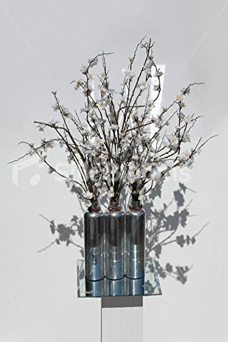 White Cherry Blossom Silver Vase Display Floral Arrangement by Silk Blooms Ltd