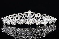 Floral Ribbon Design Rhinestone Crystal Beads Tiara Crown T887