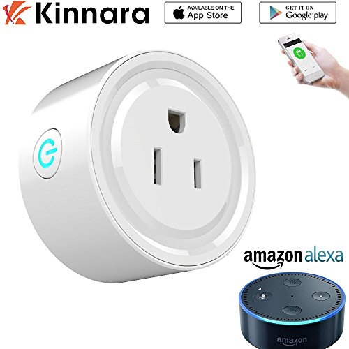 Smart Plug Compatible with Alexa, No Hub required, voice control by Amazon Echo, FCC and ETL listed, Easy installation and App control like a Smart Switch On / Off / Timing by Kinnara