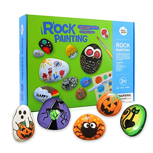 Halloween Art And Crafts Activities (Jar Melo Rock Painting Kit; Non-Toxic; Hide and Seek Rock Art; Creative Colorful Magic Stone; Creative Gift; Arts and Crafts Kits for Adults and)