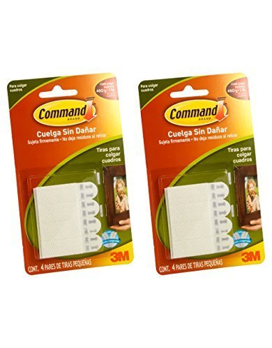 Command Small Picture Hanging Strips, White, 4-Strip, 2 Pack