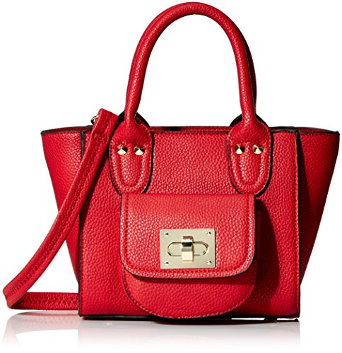 Collection Leather Small Messenger (MG Collection Mini Turn Lock Tote Bag, Coral, One Size)
