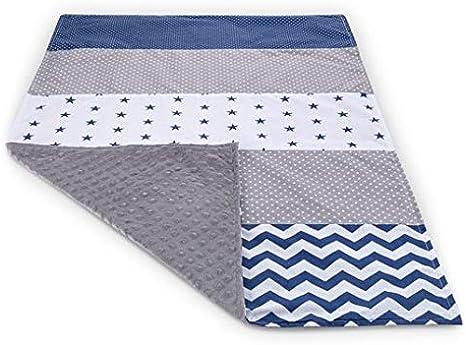 Manta para bebé de patchwork, manta para cochecito de bebé, manta para el verano para niñas, manta de verano, algodón, azul y gris, 70 x 100 cm